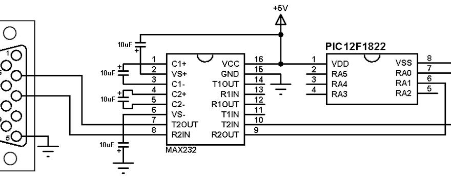 PIC12F1822 UART example max232 circuit