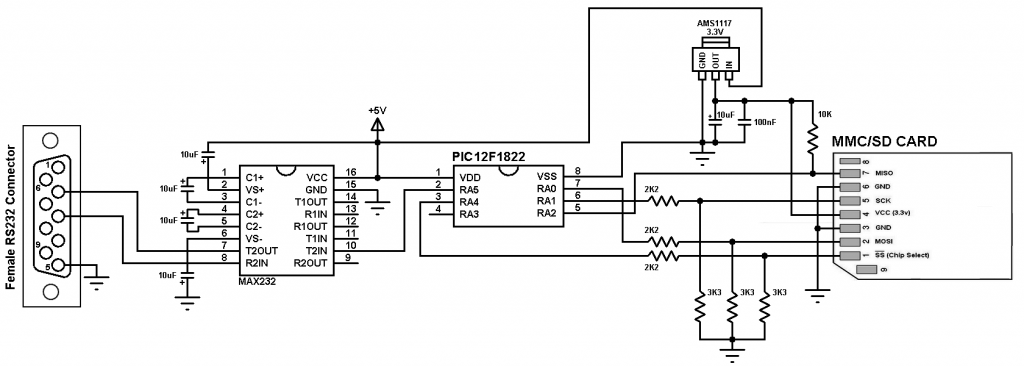 PIC12F1822 SD card interfacing circuit