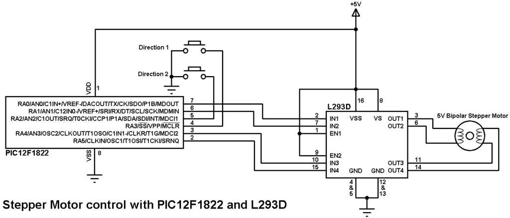 PIC12F1822 stepper motor control circuit