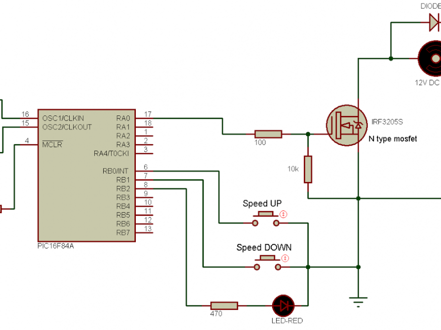 PIC16F84A DC motor speed control circuit