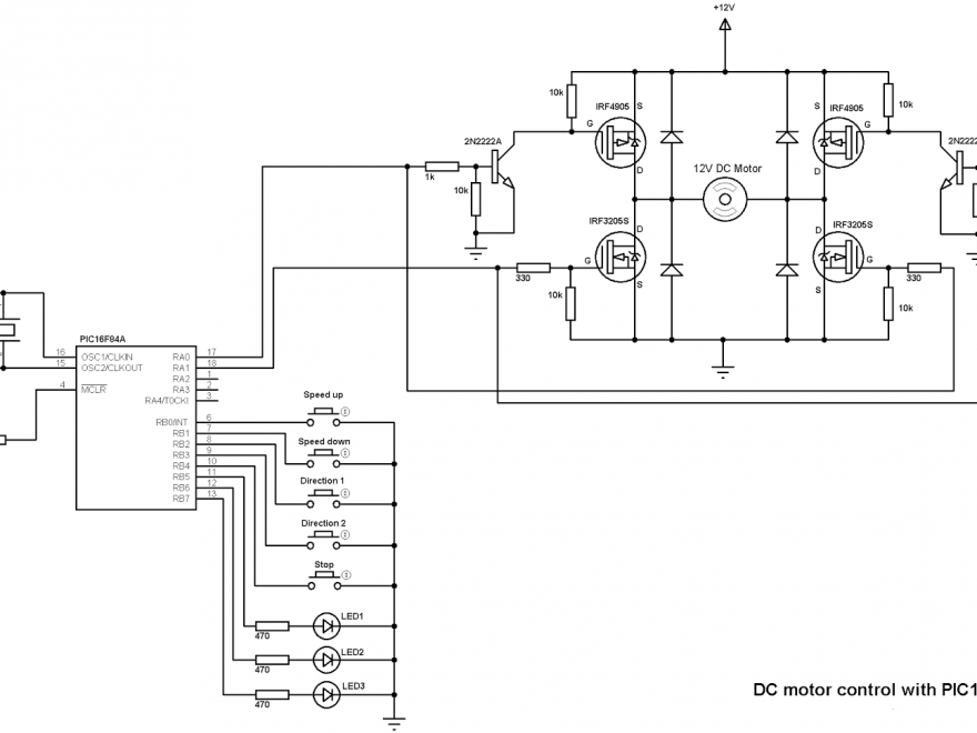 DC Motor speed and direction control using PIC16F84A