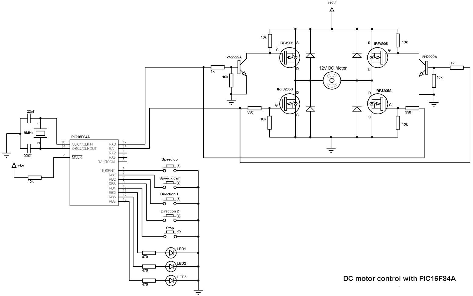 Dc Motor Speed And Direction Control With Pic16f84a Ccs C Circuit Drawing For Controller