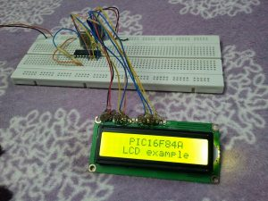 PIC16F84A LCD example hardware circuit