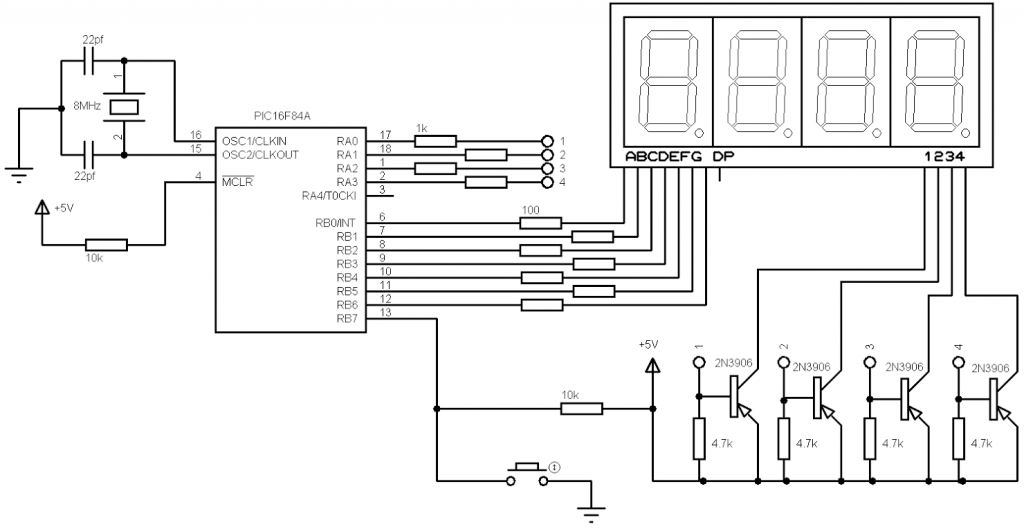 PIC16F84A 7-segment display common anode circuit