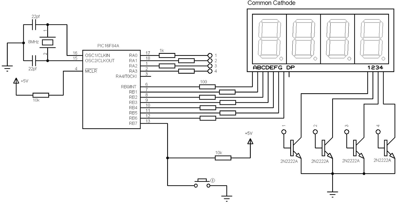 Pic16f84a 7 Segment Display Example 4 Digit Digital Counter With Ccs Seven Multiplexing Circuit Diagram