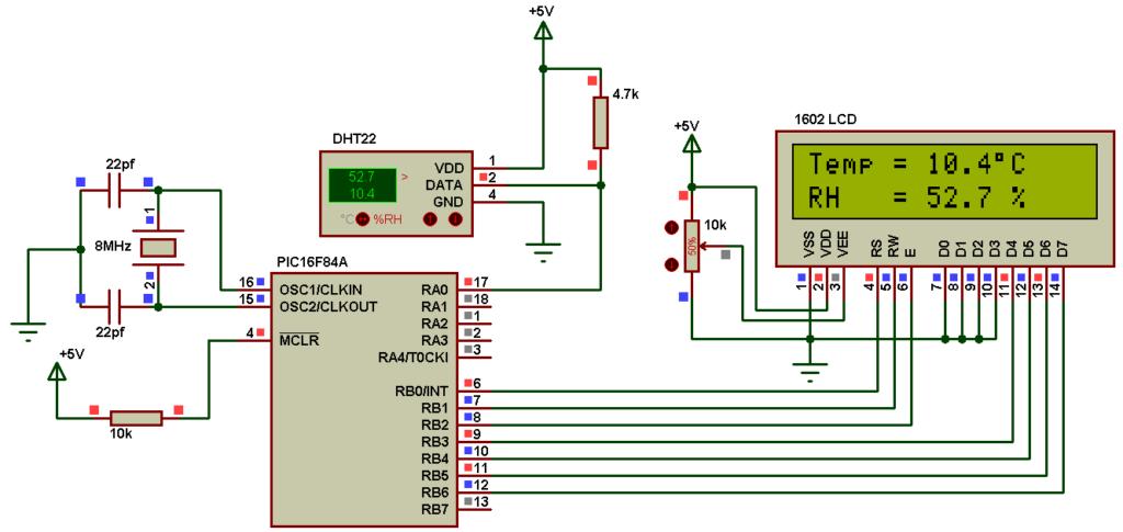 pic16f84a dht22 sensor proteus simulation circuit