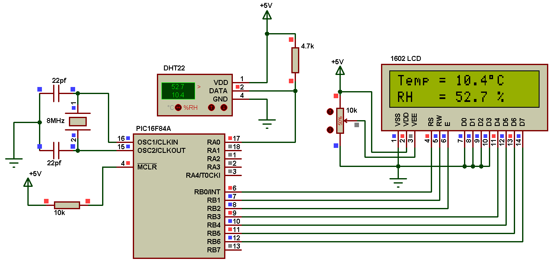 PIC16F84A + DHT22 (AM2302, RHT03) sensor Proteus simulation