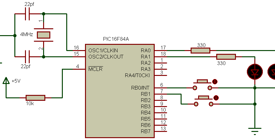 PIC16F84A enable internall pull ups example circuit