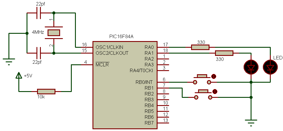PIC16F84A enable PORTB internal pull-ups example circuit
