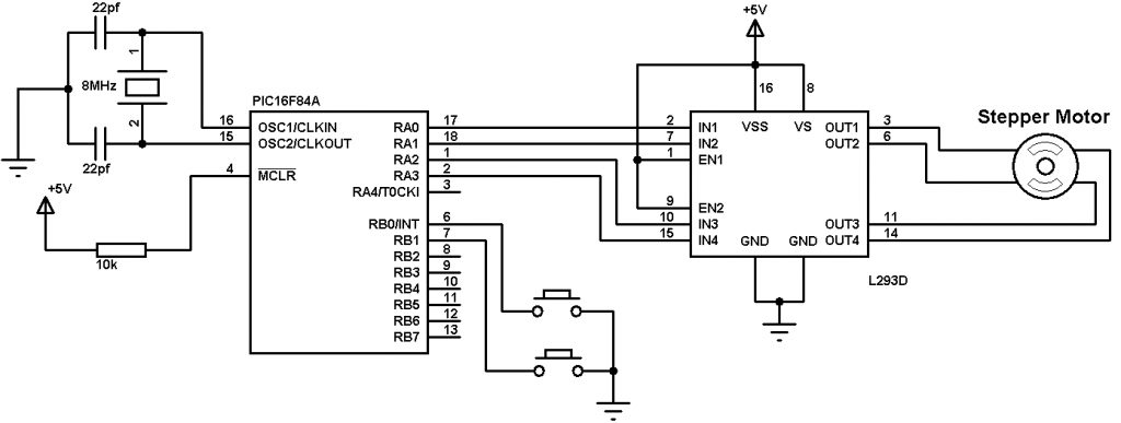 PIC16F84A cd-rom stepper motor control circuit