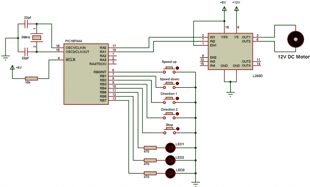 DC motor control with PIC16F84A and L293D - CCS C on