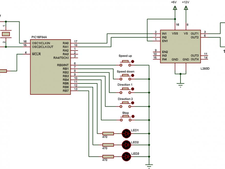 PIC16F84A L293D DC motor control circuit