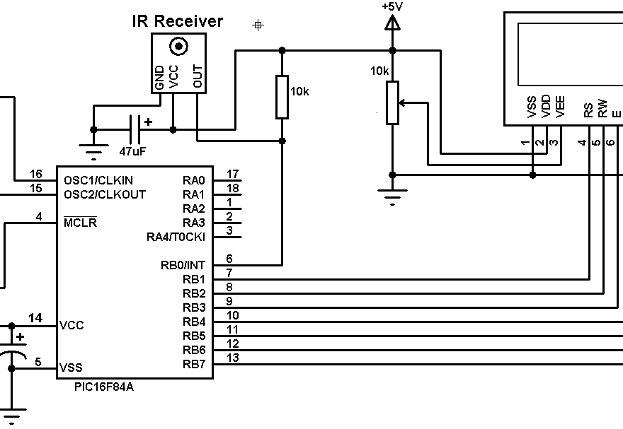 PIC16F84A NEC protocol decoder circuit