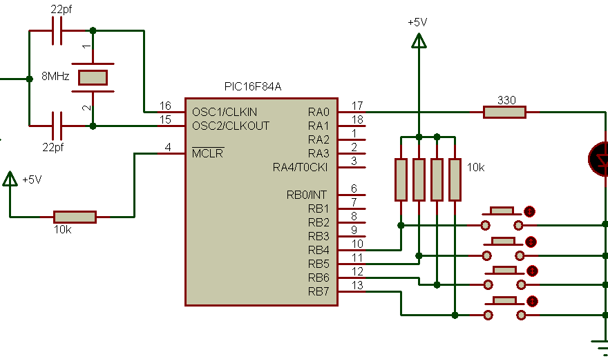 PIC16F84A PORTB interrupt on change circuit