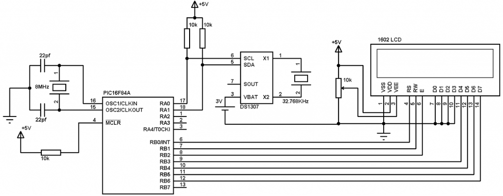 interfacing pic16f84a with ds1307 real time clock