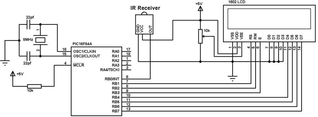 PIC16F84A RC-5 IR remote control decoder circuit