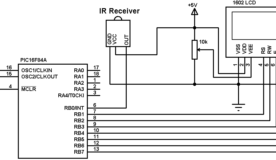 PIC16F84A RC-5 IR remote control decoder circuit