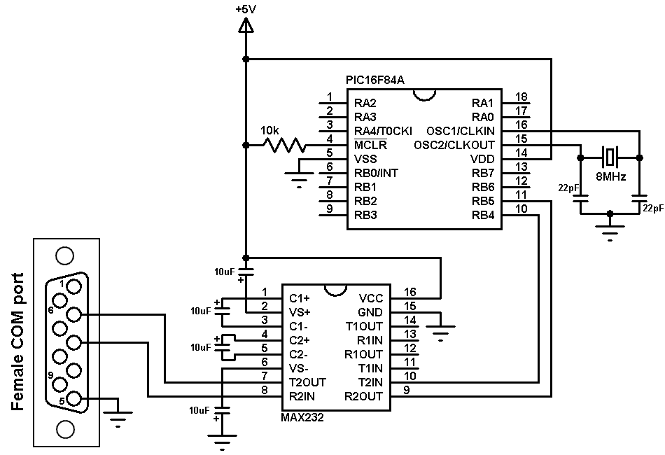 PIC16F84A software uart circuit