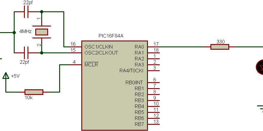 PIC16F84A Timer0 interrupt example