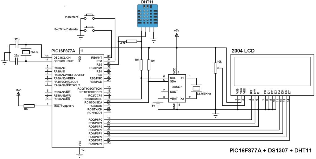 PIC16F877A DS1307 DHT11 sensor circuit