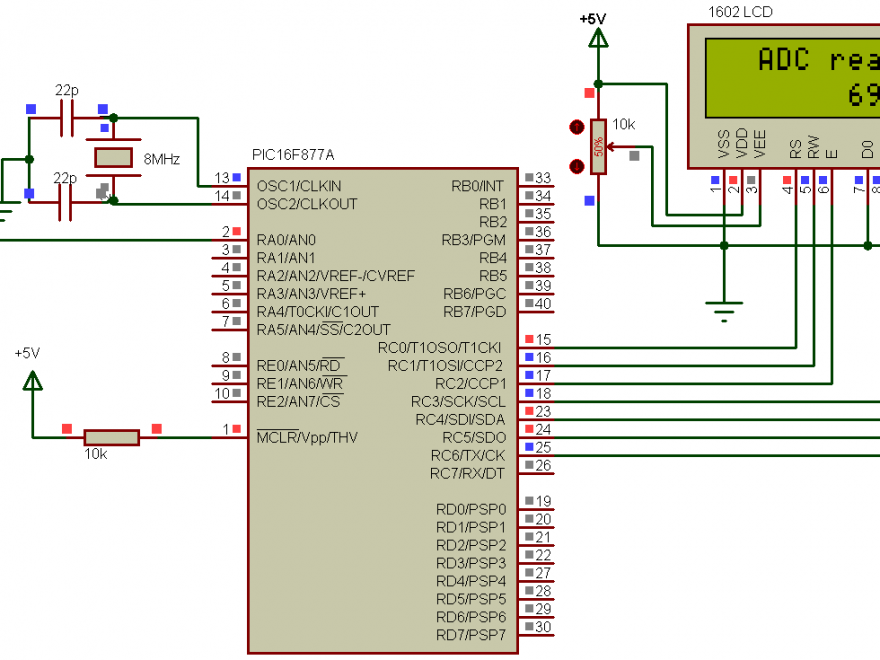PIC16F877A ADC CCS C example circuit