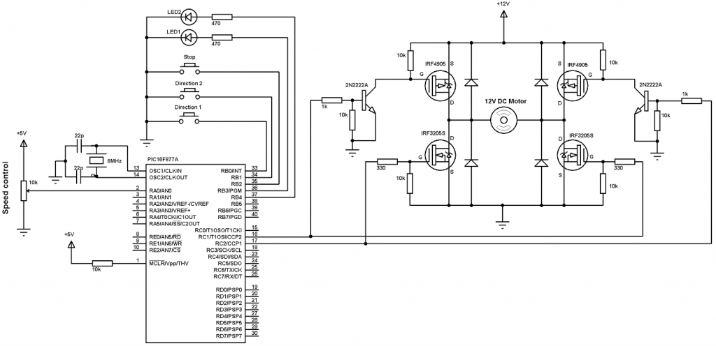 DC motor sd and direction control with PIC16F877A and H ... on
