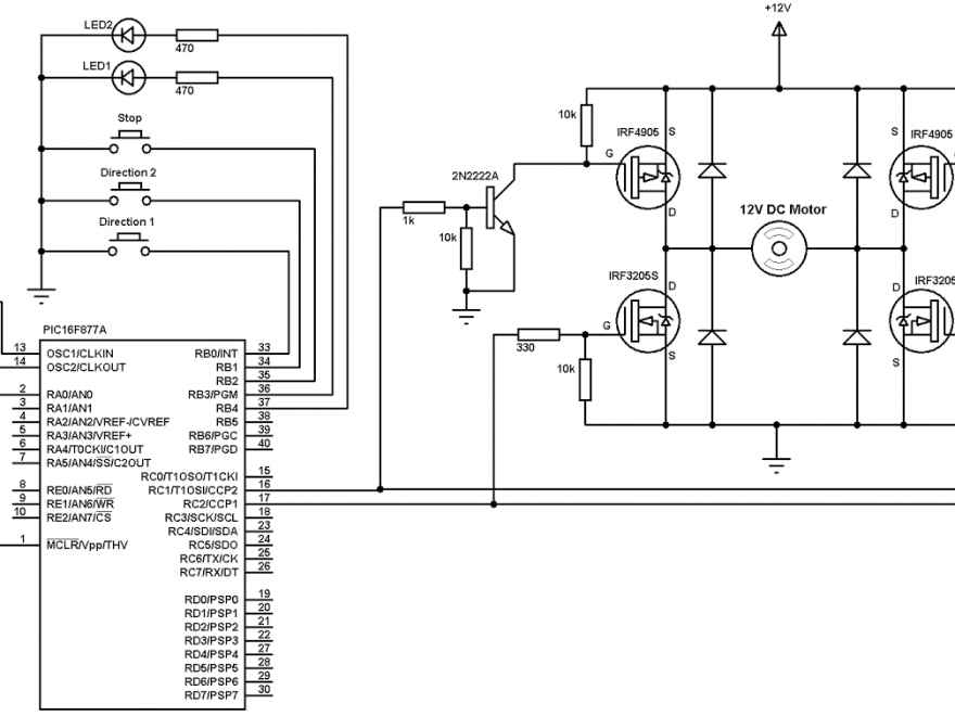 PIC16F877A DC motor speed and direction control circuit
