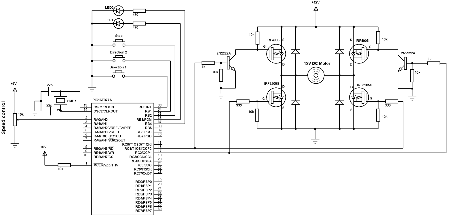 Dc Motor Speed And Direction Control With Pic16f877a And H
