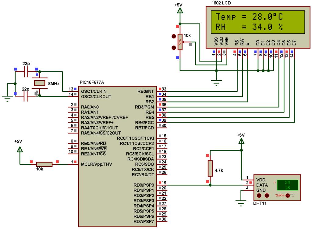 PIC16F877A DHT11 sensor interfacing circuit