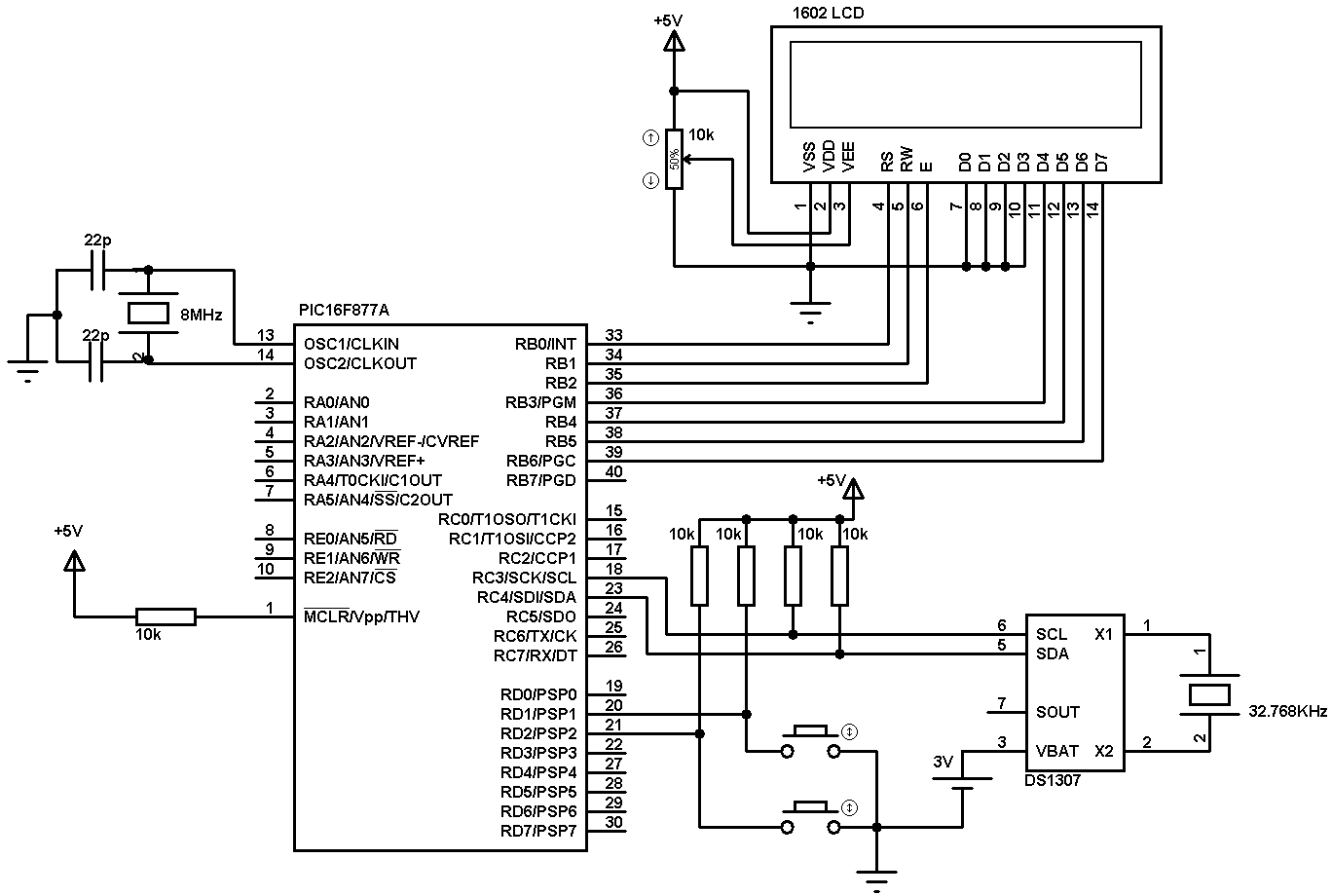 Time Clock Schematic Trusted Wiring Diagram Arduinorealtimeclockcircuit Breadboard Real Using Pic16f877a And Ds1307 Rtc Ccs C Simple
