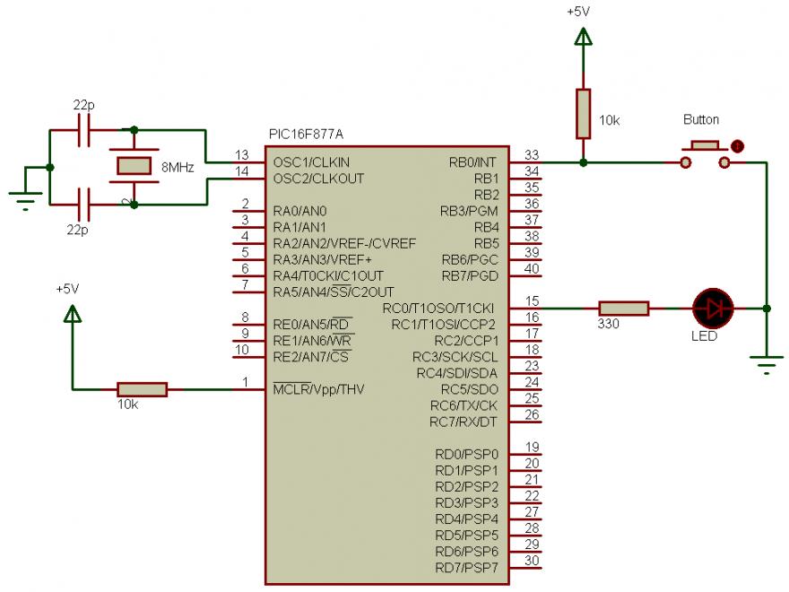 PIC16F877A external interrupt circuit