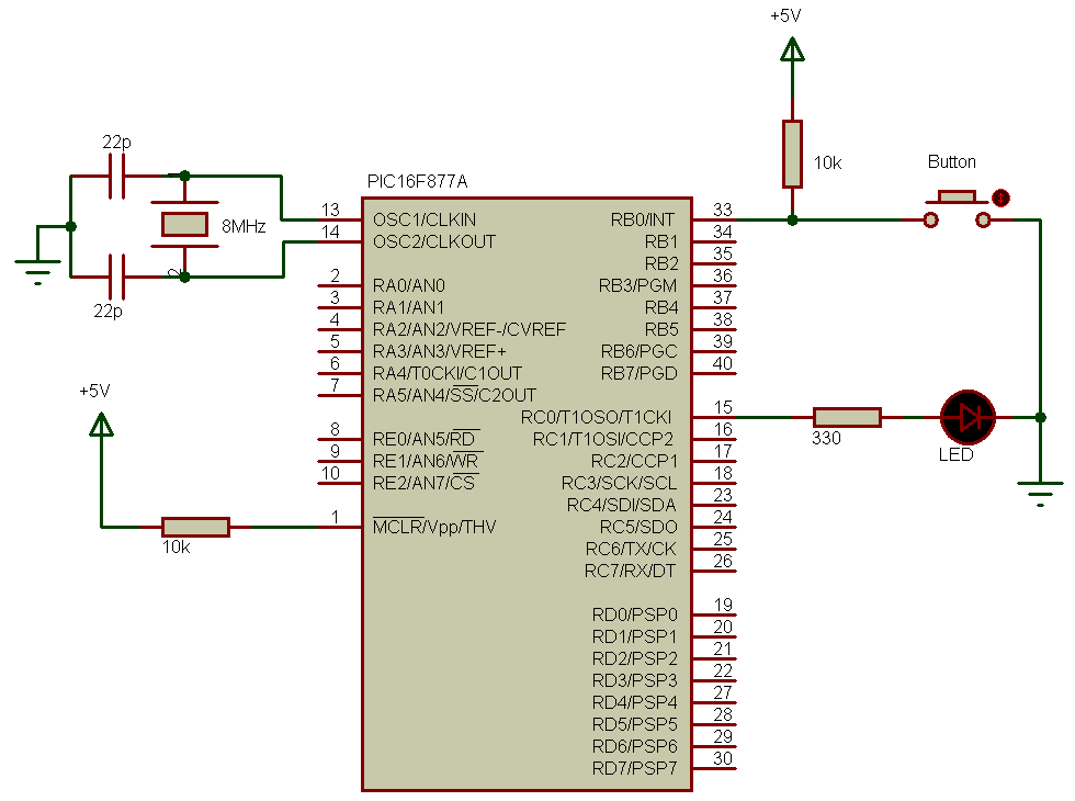 PIC16F877A external interrupt circuit
