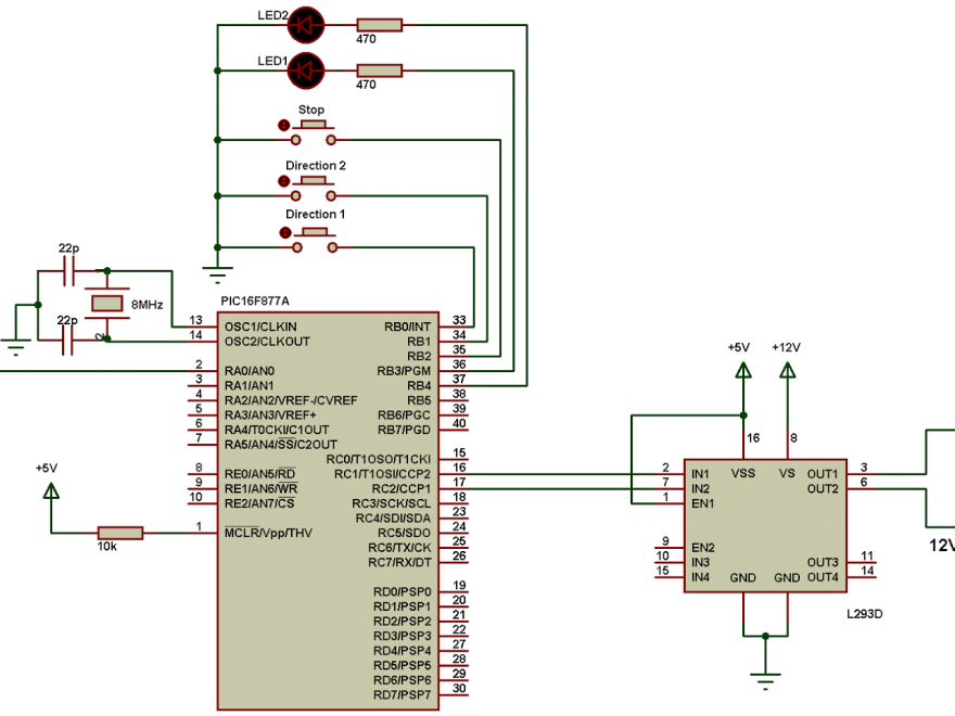 PIC16F877A L293D DC motor driver circuit