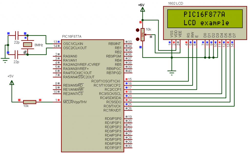 PIC16F877A LCD example circuit