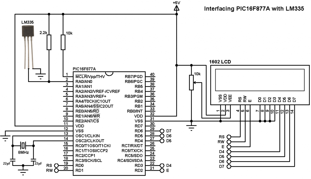 PIC16F877A LM335 temperature sensor interfacing circuit