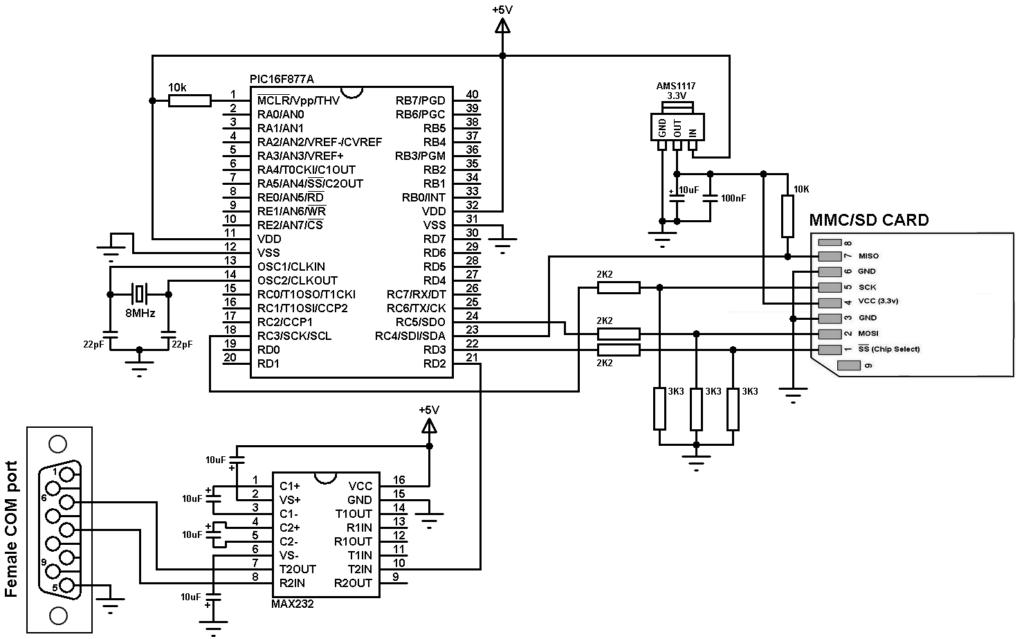 pic16f877a sd card interfacing circuit