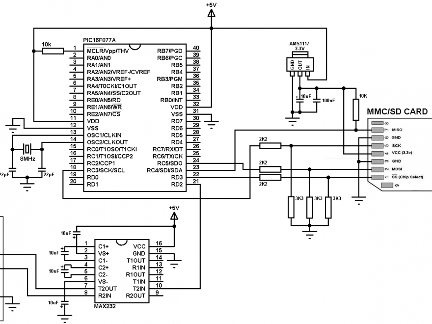 PIC16F877A SD card interfacing circuit