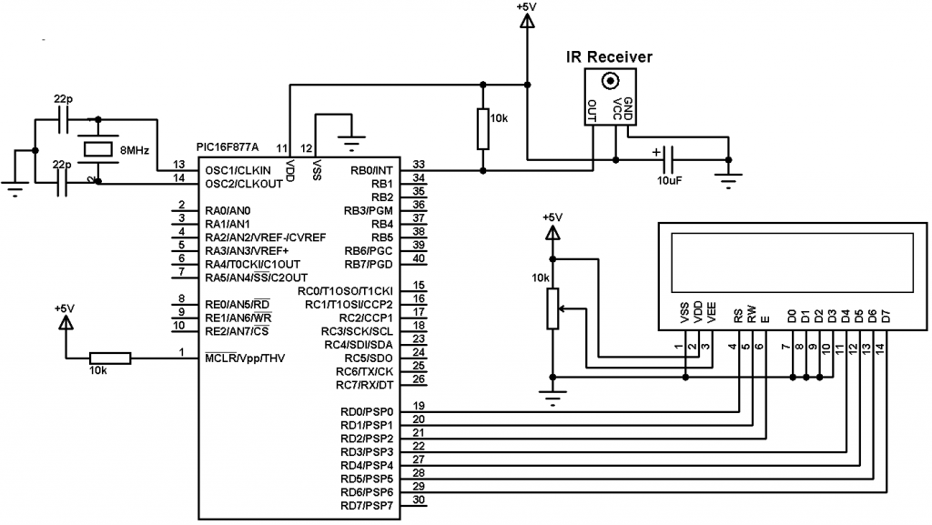 PIC16F877A NEC decoder circuit