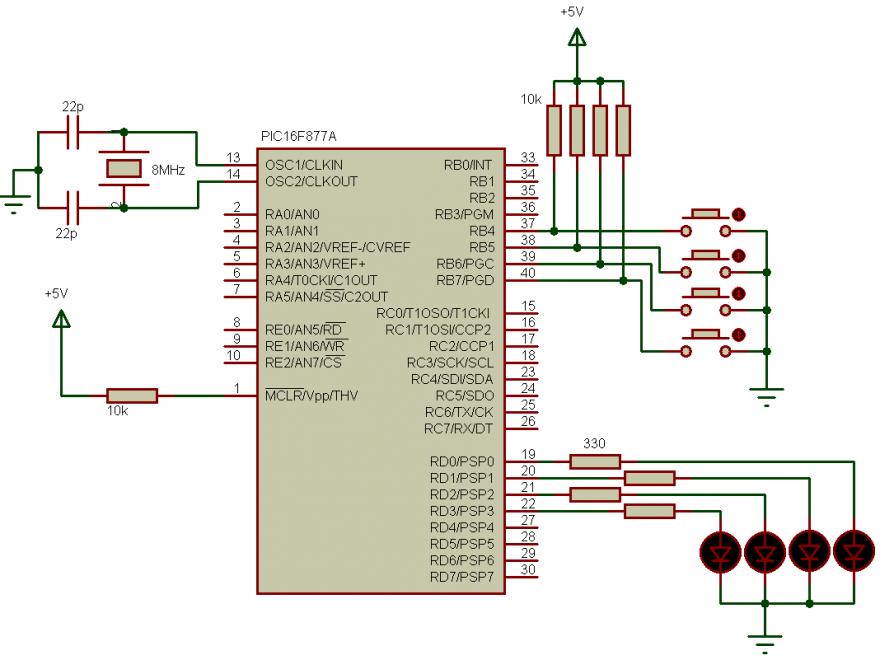 PIC16F877A PORTB interrupt on change circuit