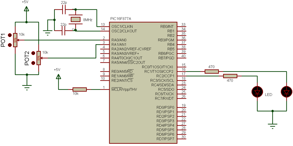 PIC16F877A PWM ADC example circuit