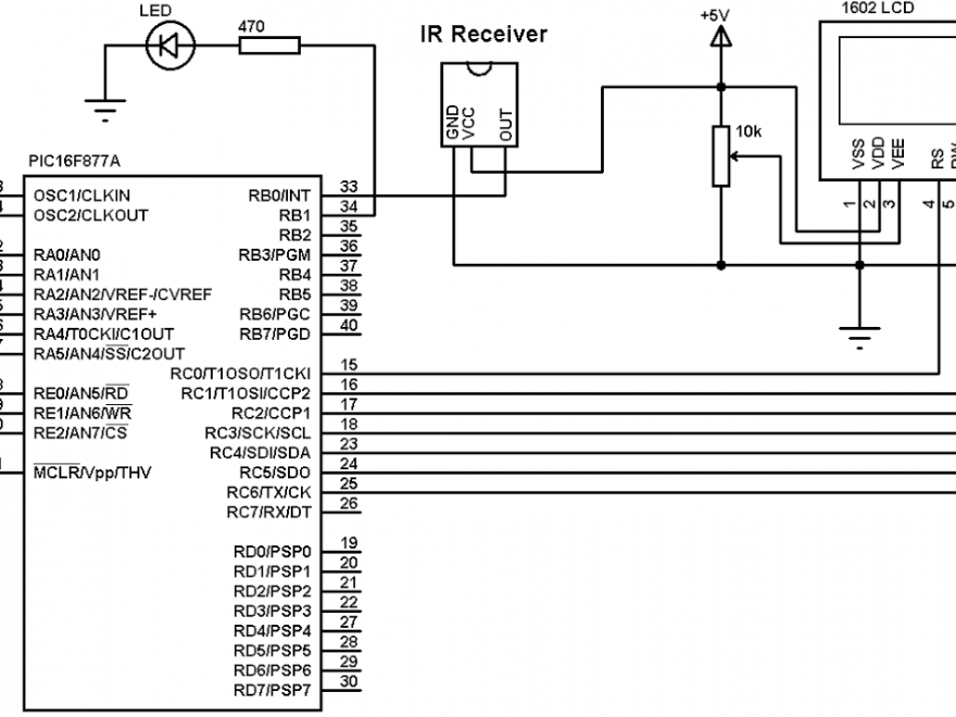 PIC16F877A RC-5 remote control decoder circuit