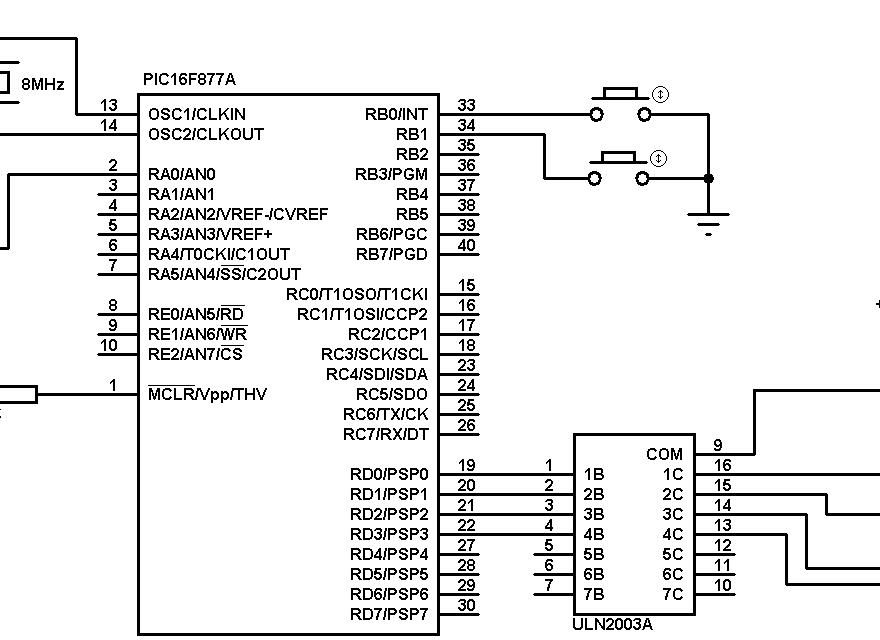 PIC16F877A unipolar stepper motor ULN2003 circuit