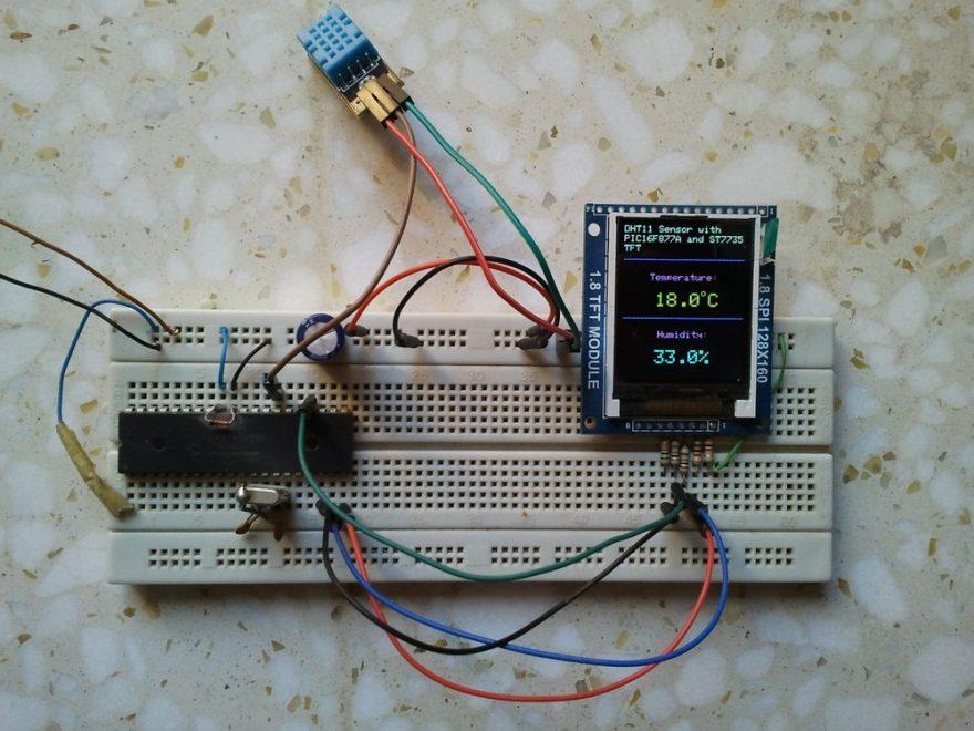 PIC16F877A ST7735 TFT DHT11 sensor hardware circuit