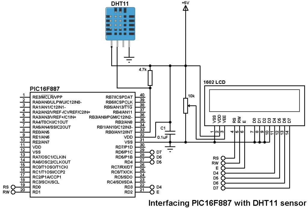 interfacing pic16f887 with dht11 sensor