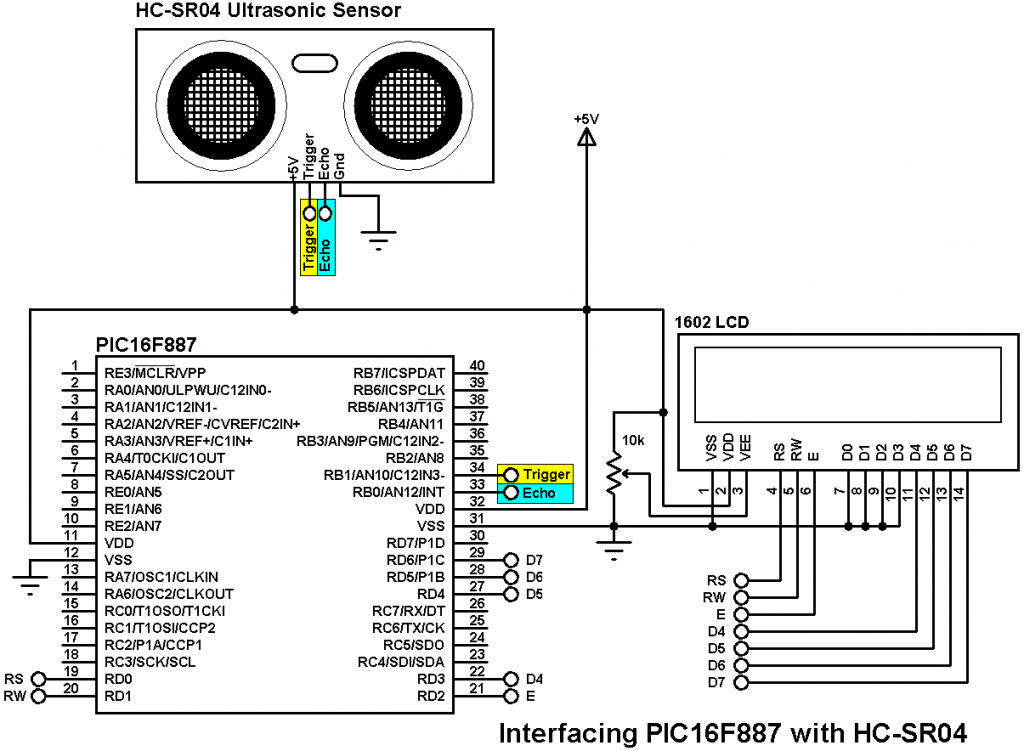 distance meter using pic16f887 and hc