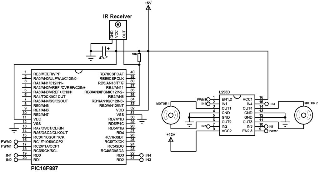 DC motor remote control circuit
