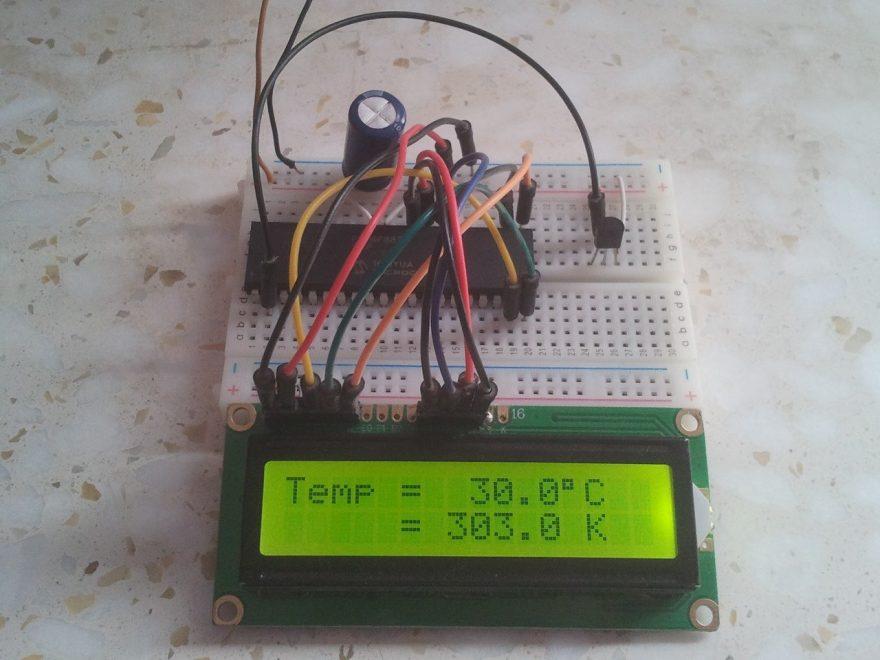PIC16F887 LM335 temperature sensor hardware circuit