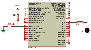 PIC16F887 external interrupt example circuit