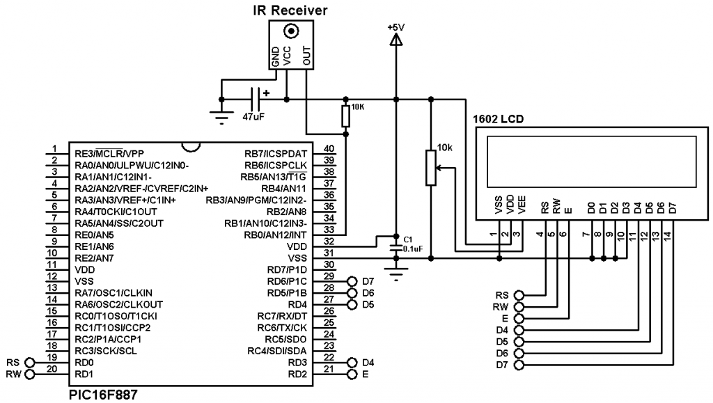 PIC16F887 extended NEC decoder remote control circuit