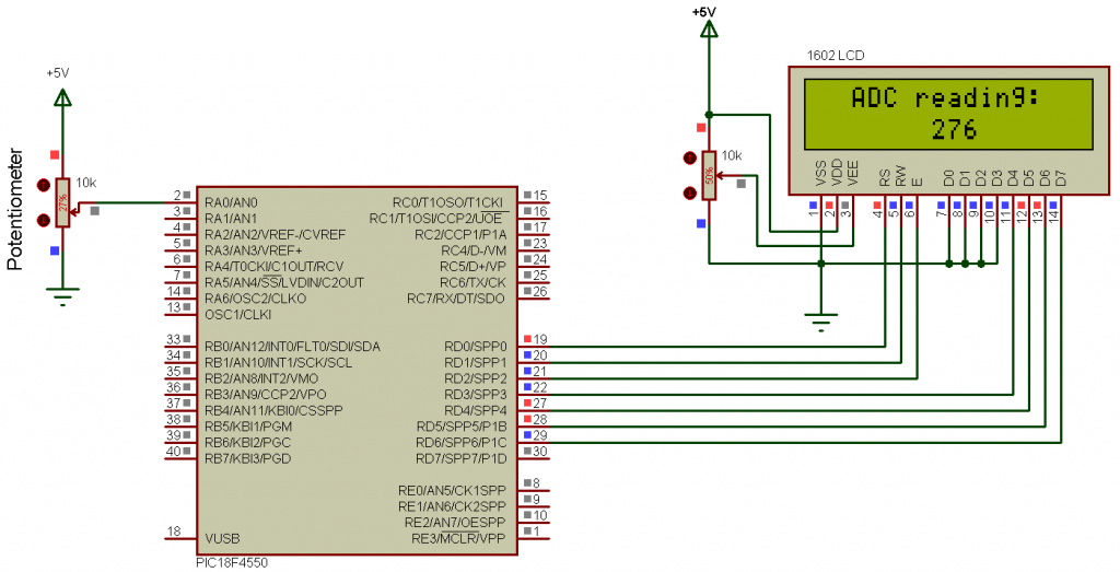 PIC18F4550 ADC example circuit